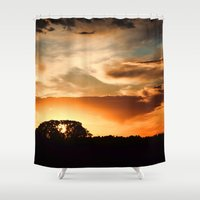 swedish Shower Curtains featuring Swedish sunset by Mark W