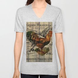 vintage typography barn wood shabby french country poulet chicken rooster Unisex V-Neck