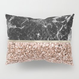 Warm chromatic - rose gold and black marble Pillow Sham