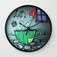 cup Wall Clocks featuring cup by Maria Sciarnamei