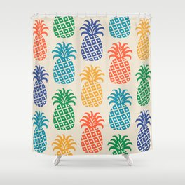 Retro Mid Century Modern Pineapple Pattern in Multi Colors Shower Curtain