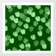 Green Pepper Pattern Art Print