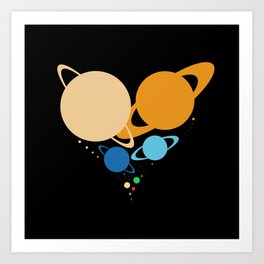 Solar System Heart (to scale) Art Print