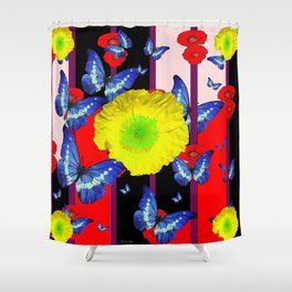 RED-BLACK  BLUE BUTTERFLY &  YELLOW FLOWER FLORAL Shower Curtain
