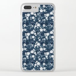 Navy and white cherry blossom pattern Clear iPhone Case