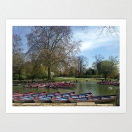 Paris summer lake boats Art Print