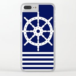 AFE Navy & White Helm Wheel Clear iPhone Case