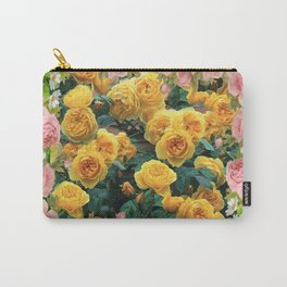 PINK & YELLOW SPRING ROSES GARDEN VIGNETTE Carry-All Pouch