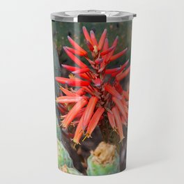 Cactus-Wrapped Flaming Firecraker Flower Travel Mug