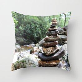 Rock Stack Falls Throw Pillow