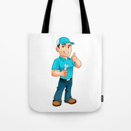Handyman worker with key in the hand Tote Bag
