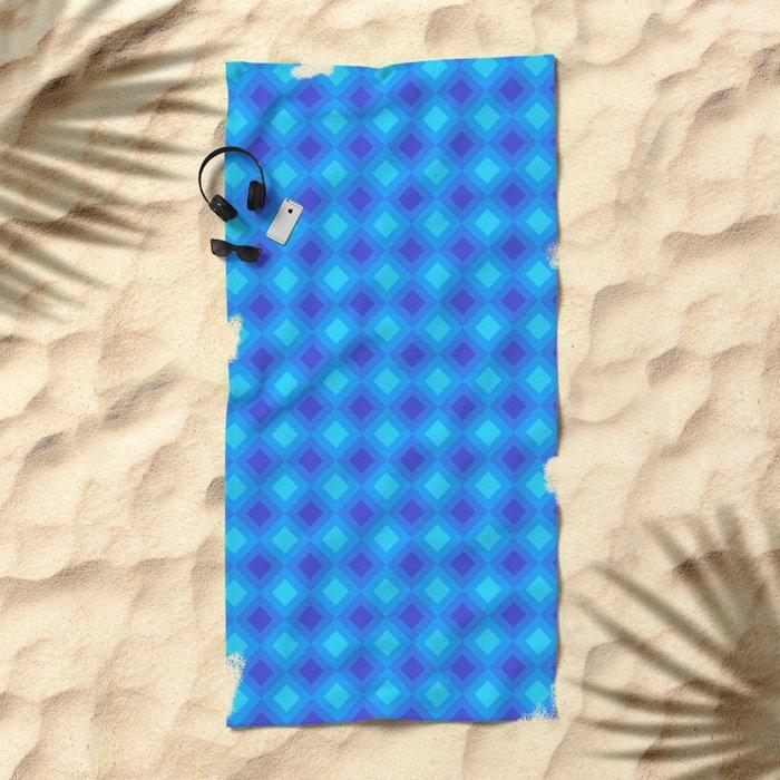 Dark Blue Cubes - Geometric Work Beach Towel