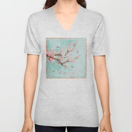 Its All Over Again - Romantic Spring Cherry Blossom Butterfly Illustration on Teal Watercolor Unisex V-Neck