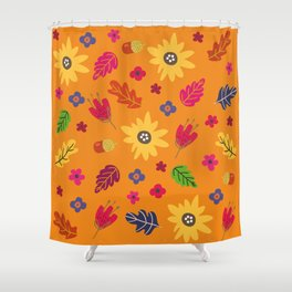 Bright Autumn Fall Leaves Flower Pattern Shower Curtain