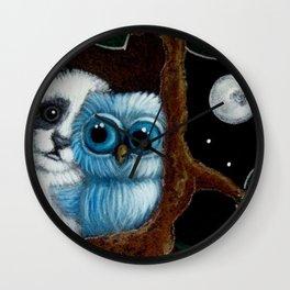 BLUE OWL...A PANDA VISIT Wall Clock