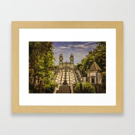 Portugal, Minho district, Braga, the sanctuary of Bom Jesus and the baroque stairway Framed Art Print