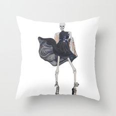 skeleton in leather & fur Throw Pillow