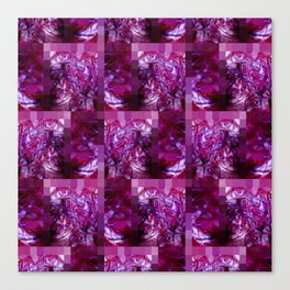 Pink, Red, Purple and White Fluid Pattern with Mosaic Border Canvas Print