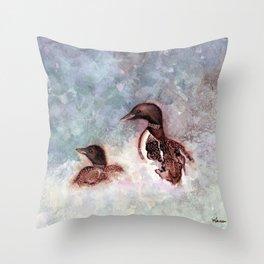 Loon Calling by Maureen Donovan Throw Pillow
