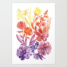 Floral abstract and colorful watercolor illustration Art Print