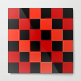 Red & Black Checkers : CheckerBoarD Metal Print