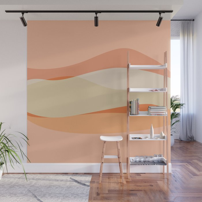 Peachy Waves Wall Mural