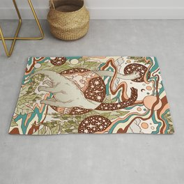 Jurassic Portal | Retro Rainbow Palette | Dinosaur Science Fiction Art Rug