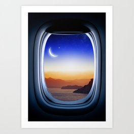 Airplane window with Moon, porthole #1 Art Print