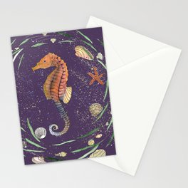 seahorse painting with whimsical wreath and violet background Stationery Cards