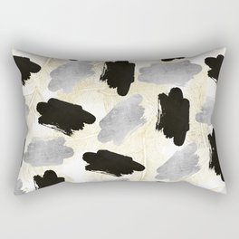 Modern black faux silver gold feathers brushstrokes Rectangular Pillow