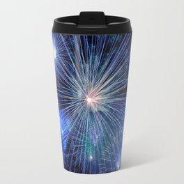 Blue New Year Fireworks Travel Mug