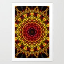 Fiery Fractal Mandala Art Print