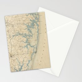 Vintage Map of Ocean City Maryland (1900) Stationery Cards