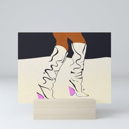 these boots are made for walking Mini Art Print