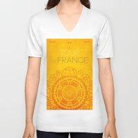 tour de france V-neck T-shirts featuring Tour De France 2014 Poster by Patrick Anthony Leverton