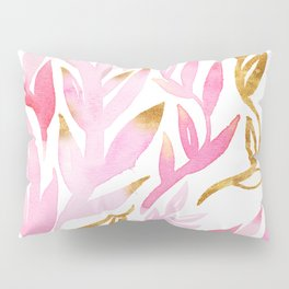 Pink and Gold Leafy Flourish Pattern Pillow Sham