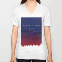 night sky V-neck T-shirts featuring Night Sky by finkledink1997