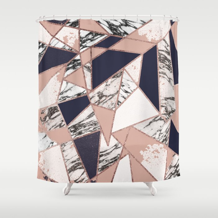 Geometric Navy Blue Peach Marble Rose Gold Triangle Shower Curtain