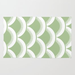 Japanese Fan Pattern Sage Green Rug