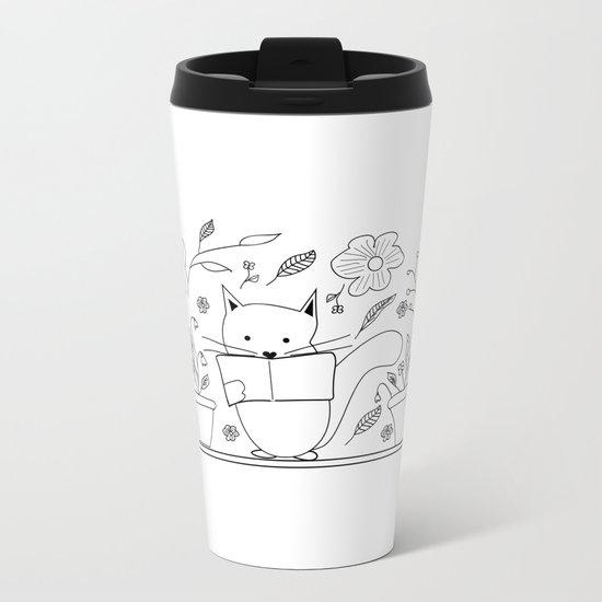 Cat between the flowers Metal Travel Mug