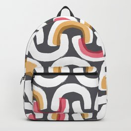 White Arch Pattern Backpack