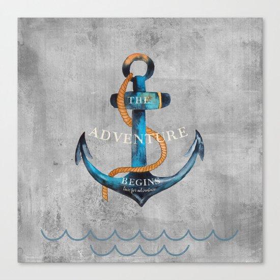 Maritime Design- Nautic Anchor Navy Marine Beach Canvas Print