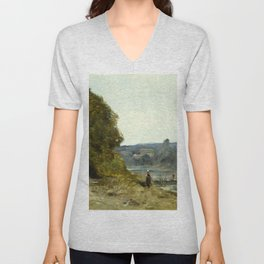 "Jean-Baptiste-Camille Corot ""The Departure of the Boatman"" Unisex V-Neck"