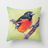 baltimore Throw Pillows featuring Baltimore Oriole by Art Project