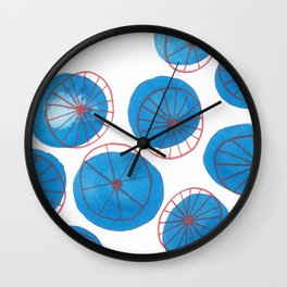 Blue drops, red wheels Wall Clock