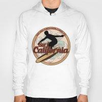 surfboard Hoodies featuring Surf California vintage surfboard logo by Artistic Attitude