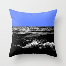 Black Wave w/Light Blue Horizon Throw Pillow
