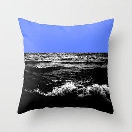 Black Wave w/Light Blue Horizon Throw Pillow