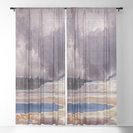 The Castle Geyser, Yellowstone Park landscape painting by Thomas Moran Sheer Curtain