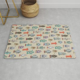 Vintage Style Robot Collection Rug